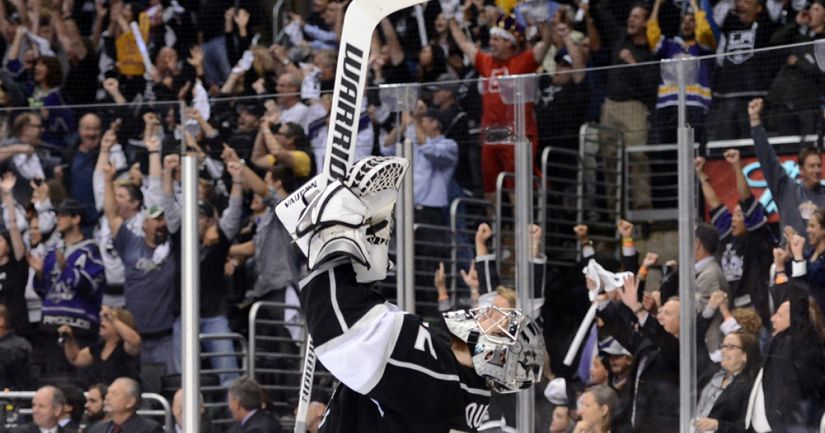 LA Kings goaltender Jonathan Quick celebrates against the New Jersey Devils in Game 6 of the Stanley Cup finals at Staples Center in Los Angeles on June 11, 2012.</p>