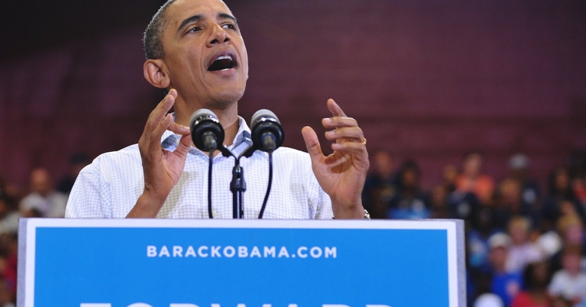 US President Barack Obama speaks during a Labor Day campaign event September 3, 2012 at Scott High School in Toledo, Ohio.</p>