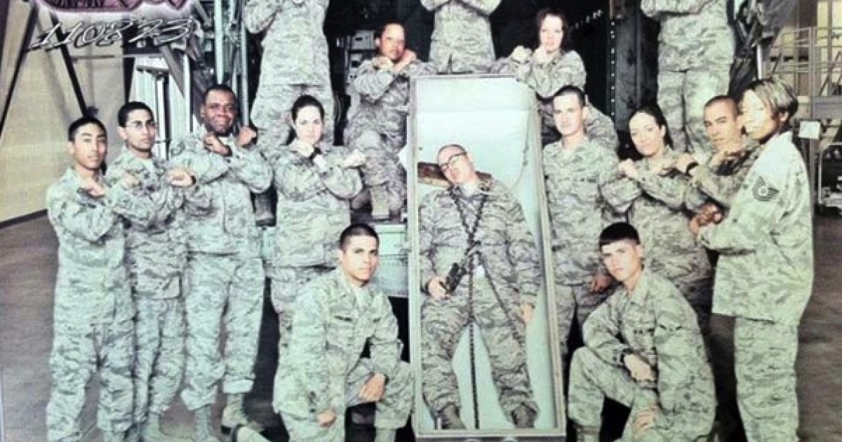 Airmen at Lackland Air Force Base pose with a casket in a Facebook photo sent to Air Force Times.</p>