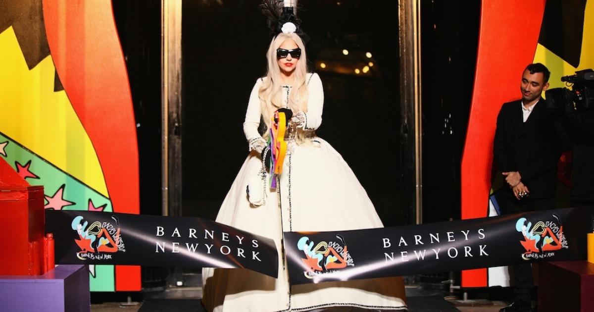 Lady Gaga at Gaga's Workshop Ribbon Cutting at Barneys New York on November 21, 2011 in New York City.</p>