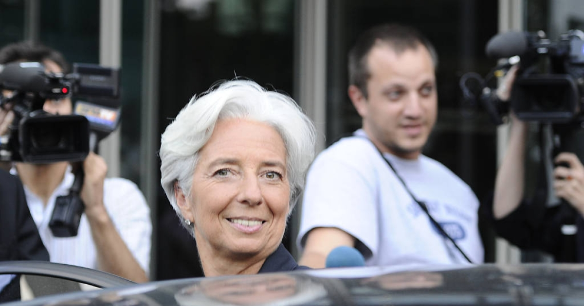 Newly elected IMF president Christine Lagarde gets in her car after taking part in the broadcast news of French TV station TF1, following the announcement of her election, on June 28, 2011 in Boulogne-Billancourt, outside Paris. Lagarde was named the first-ever female chief of the IMF, facing an immediate crisis as violent Greek anti-austerity protests rocked eurozone stability.</p>