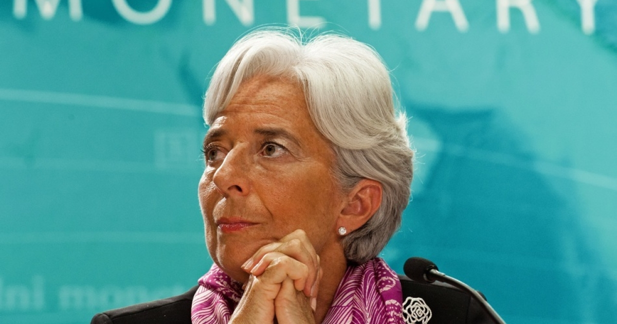 Christine Lagarde conducts her first press conference as new IMF Managing Director on July 6, 2011, in Washington, DC.</p>
