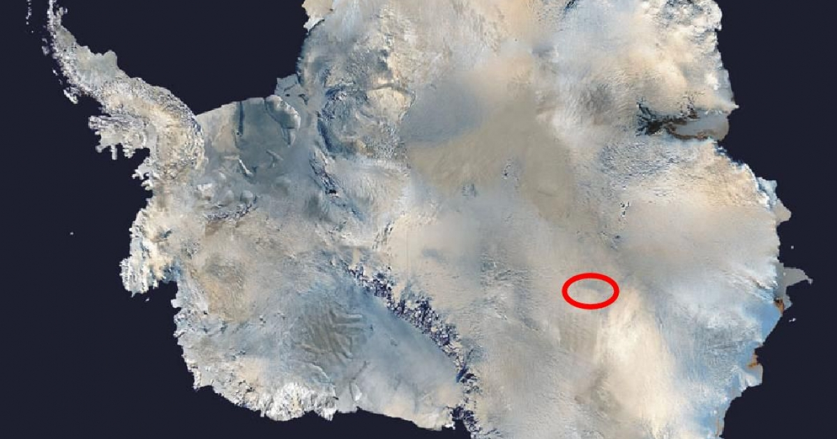 This satellite picture shows Lake Vostok's location under the Antarctic ice sheet.</p>