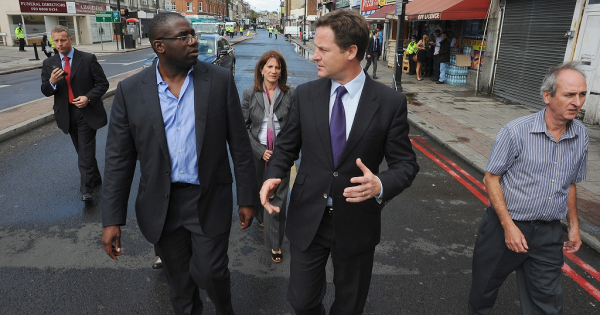 David Lammy shows Deputy Prime Minister Nick Clegg around his Tottenham constituency the morning after riots burned out much of the main shopping area.</p>