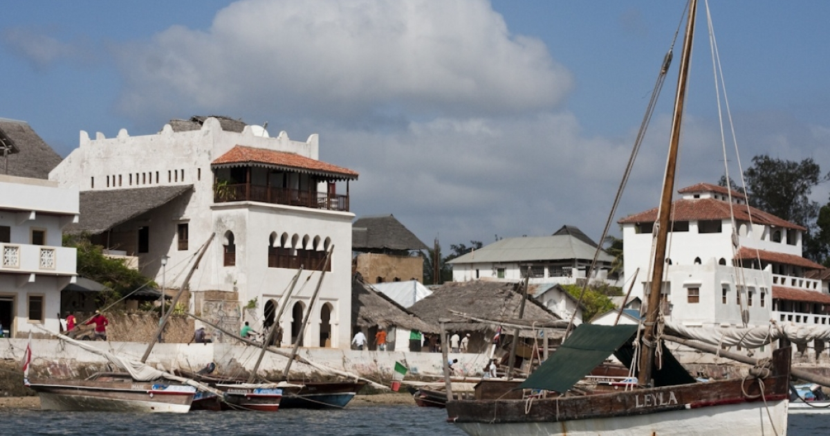The waterfront in historic Lamu Town, off the coast of Kenya.</p>
