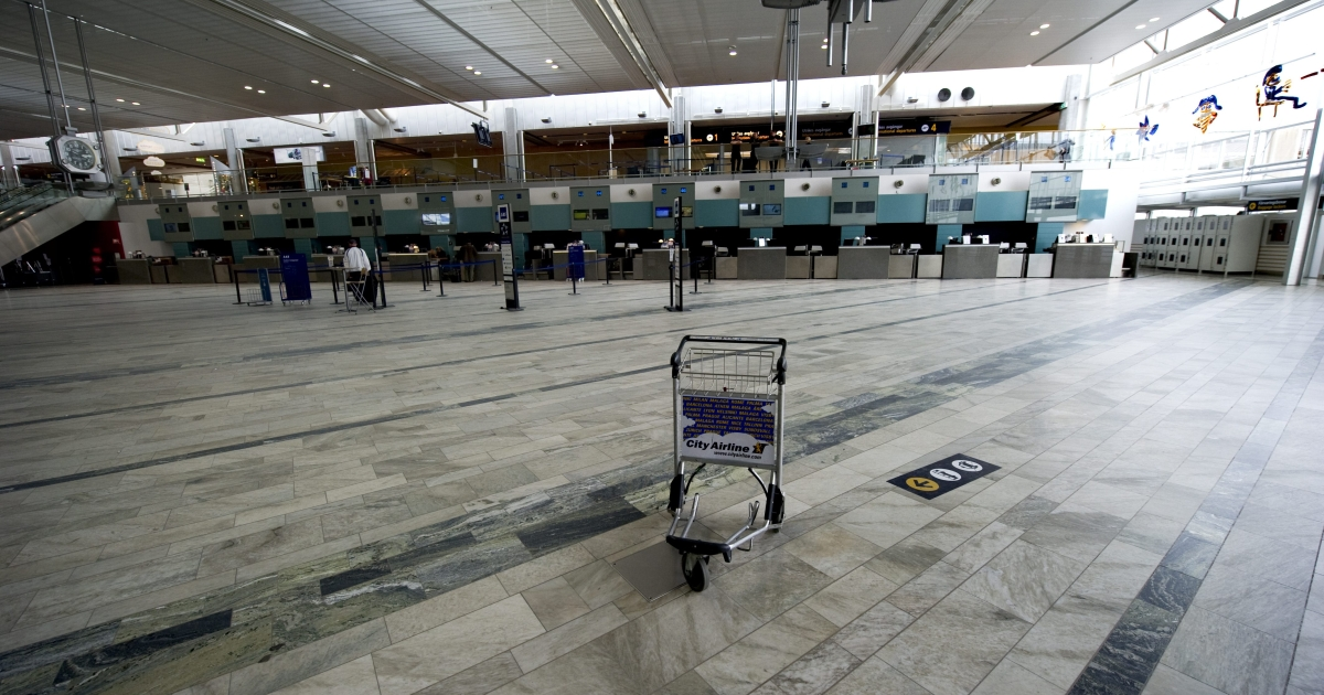 An empty check-in is seen in April 2010 at Gothenburg-Landvetter Airport after all flights were canceled due to an ash cloud.</p>