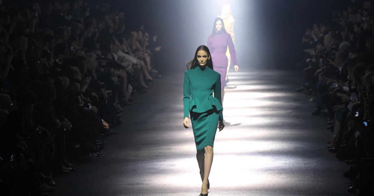 "Professional models presented Lanvin's Fall/Winter 2012-2013 ready-to-wear collection on Mar. 2, 2012 in Paris, but ""real"" people will wear the clothes in the advertising campaign.</p>"