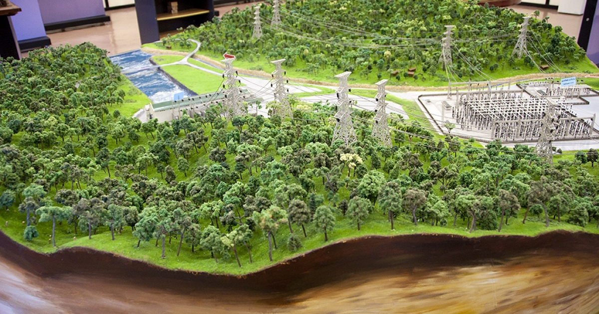 A model of the Nam Theun 2 dam at the Visitors Center in Thakek, Laos.</p>