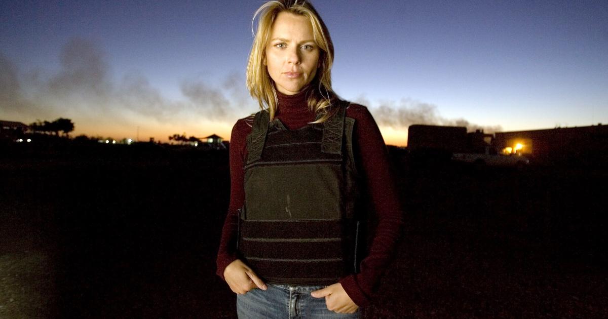 Journalist Lara Logan of CBS News appears in Camp Victory in Baghdad, Iraq November 17, 2006.</p>