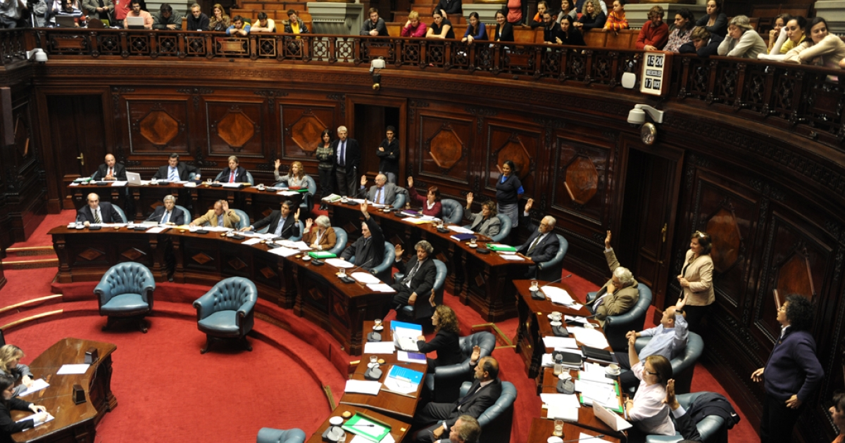 The Uruguayan Senate passes the law legalizing abortion, in Montevideo, on Oct. 17, 2012. Uruguay became only the second country in mostly Catholic South America to legalize abortion when the Senate approved the bill with a vote of 17 to 14.</p>