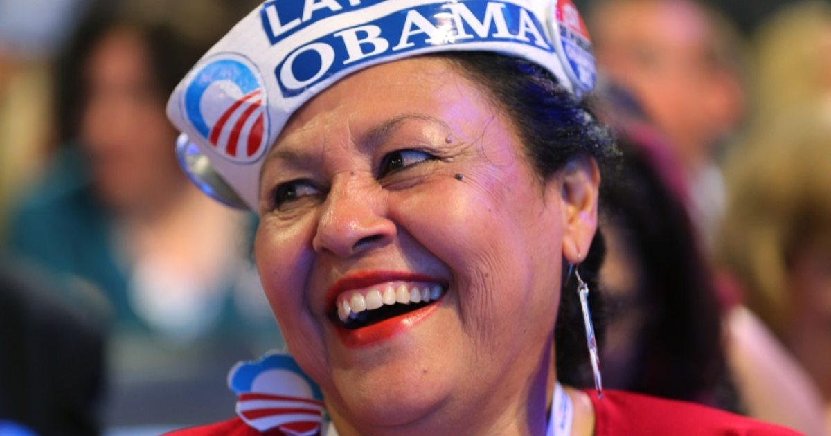 Delegate Antonia Gonzalez of Seattle, WA wears a Latinos for Obama hat during day one of the Democratic National Convention at Time Warner Cable Arena on September 4, 2012 in Charlotte, North Carolina.</p>