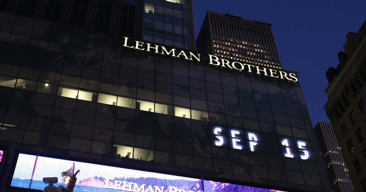 The headquarters of Lehman Brothers Holdings in New York City on Sept. 15, 2008, the day the company filed for Chapter 11.</p>