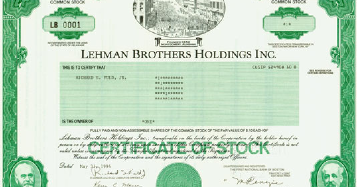 Lehman Brothers share number 0001, issued in 1994 and sold at auction this weekend.</p>