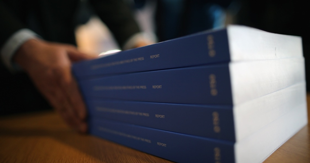 Lord Justice Leveson presents his report on press standards, on Nov. 29, 2012 in London, England.</p>