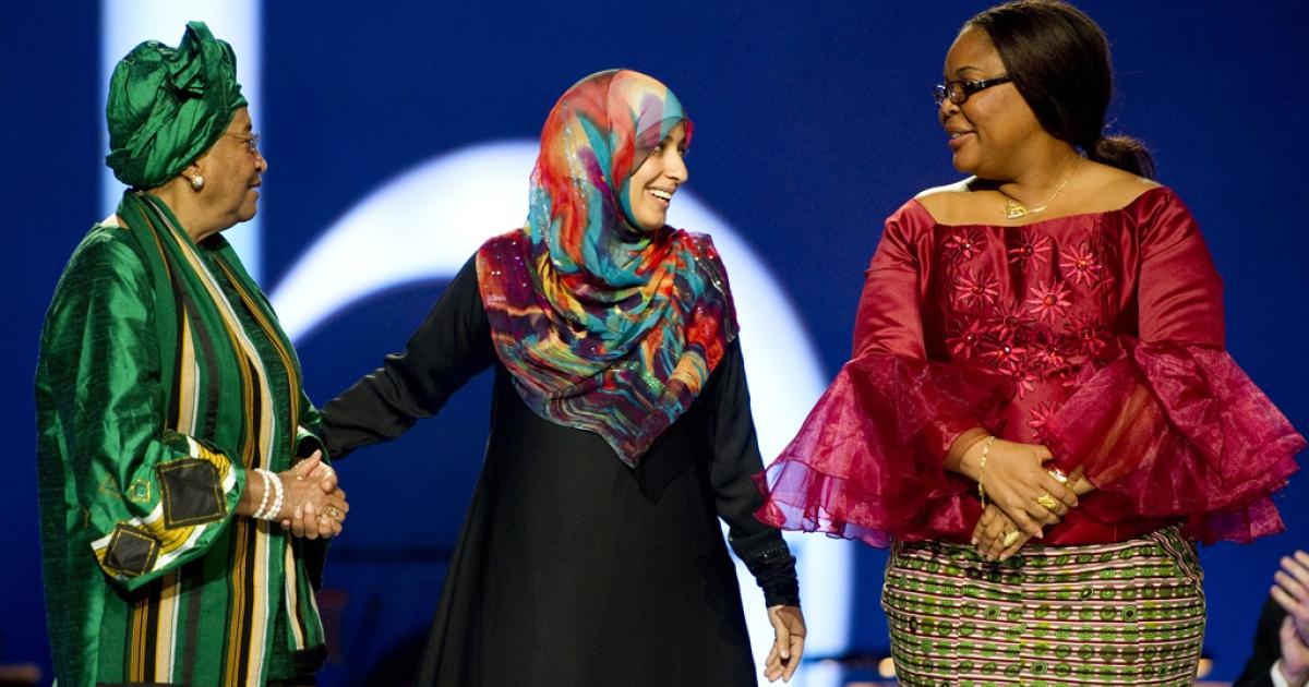 Nobel Peace Prize laureates, Liberian President Ellen Johnson Sirleaf, Yemini