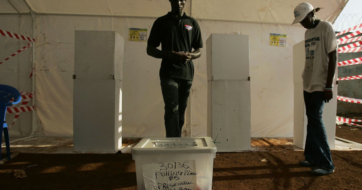 A voter approaches the ballot box in Monrovia, Liberia, during the last presidential polls in November 2005 which were eventually won by Ellen Johnson Sirleaf who became Africa's first female president. She is running for a second term in elections due in October.</p>