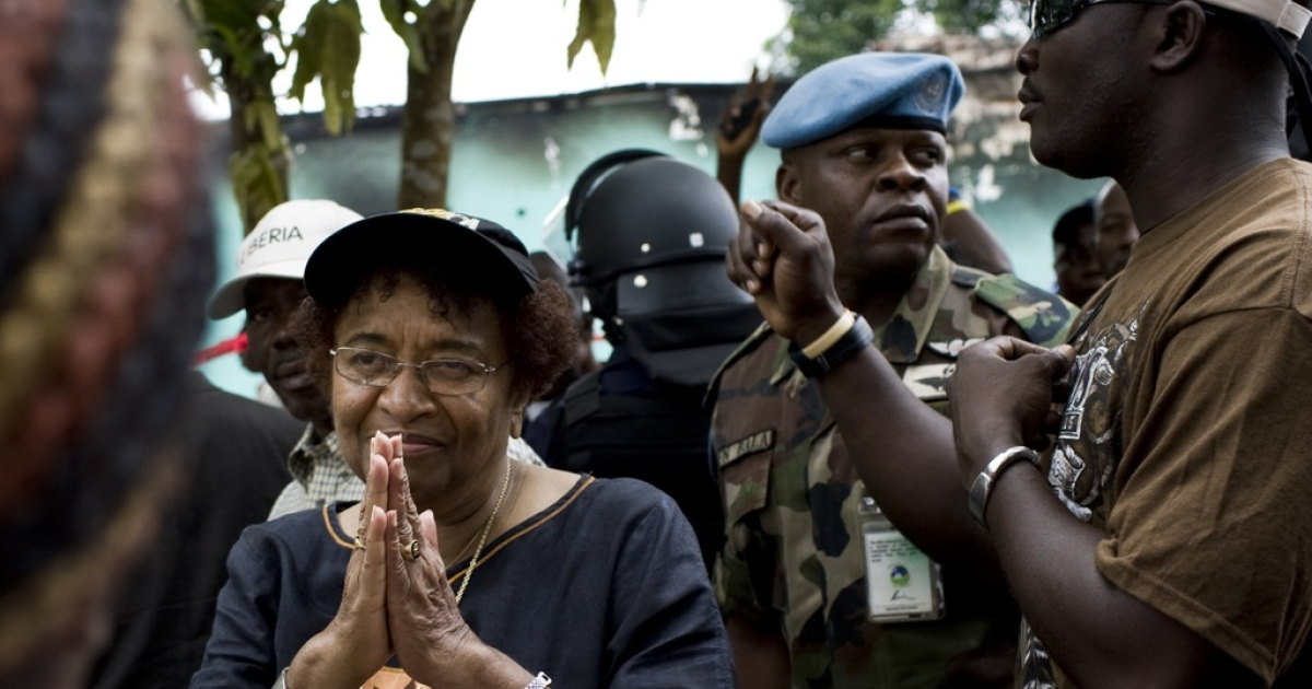 Liberian President Ellen Johnson Sirleaf says she hopes for a peaceful outcome in Liberia's runoff election on November 8. She spoke to a crowd of supporters on October 15, 2011 outside offices of her party on the outskirts of Monrovia that had been set alight overnight in a suspected arson attack.</p>