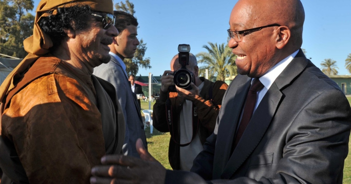Libyan Col Muammar Gaddafi welcomes South African President Jacob Zuma to Tripoli on April 10, 2011. Zuma was part of an African Union delegation to try to mediate in the Libyan conflict.</p>