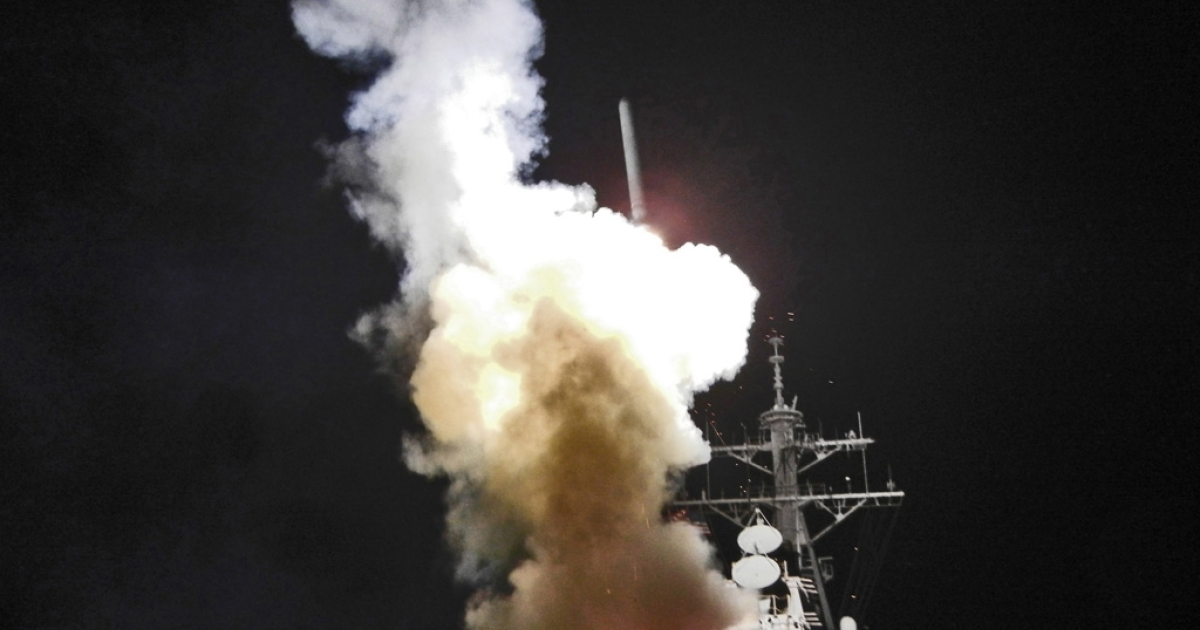 The USS Barry launches a Tomahawk missile in support of Operation Odyssey Dawn, March 19, 2011. This was one of approximately 110 cruise missiles fired from U.S. and British ships and submarines targeting about 20 sites along Libya's Mediterranean coast.</p>