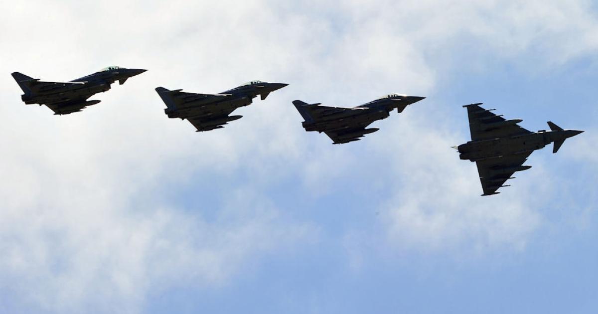 Italian Eurofighter jets prepare to land on March 23, 2011 at Trapani-Birgi airbase in Sicily.</p>