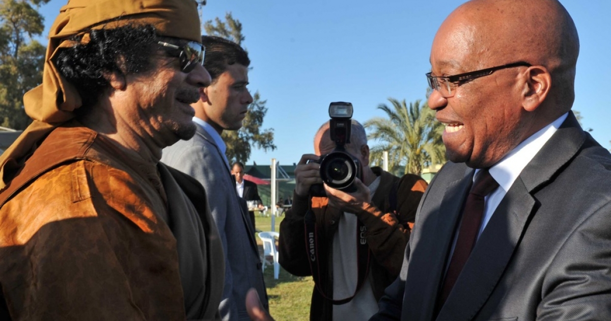 South Africa and the African Union have remained loyal to longtime friend and ally, the Libyan leader Muammar Gaddafi. Here South African President Jacob Zuma shakes hands with Gaddafi on his arrival in Tripoli, Libya on April 10, 2011.</p>