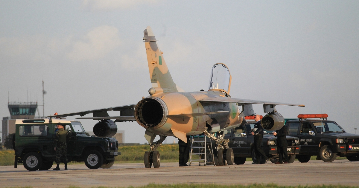 A F1 mirage of the Libyan airforce sits on the tarmac of Malta airport after landing on Feb. 21, 2011 at Luqua. Two Libyan fighter jets and two civilian helicopters carrying seven people who told immigration police they were French landed in Malta.</p>