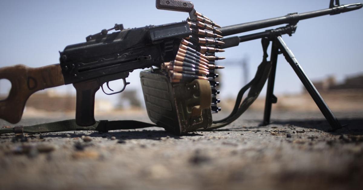A M249 light machine gun used by Libyan rebels.</p>
