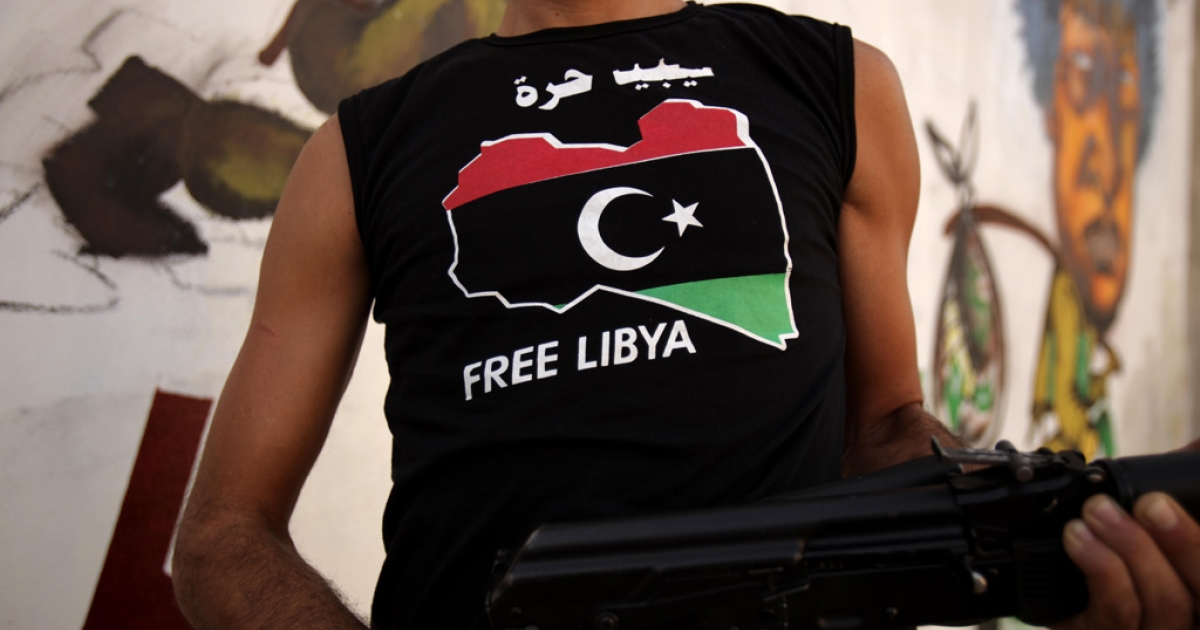 A Libyan rebel in Tripoli on Sept. 1, 2011.</p>