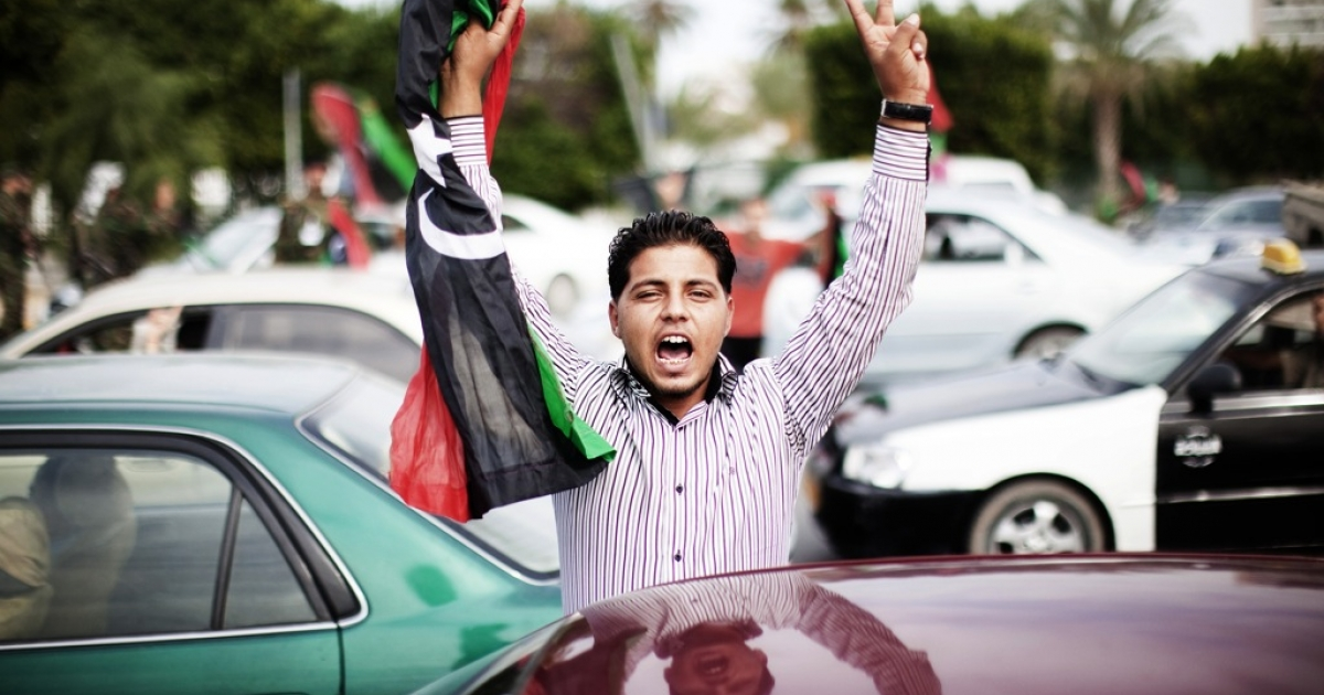 Celebrations in Tripoli after reports claimed Muammar Gaddafi had been captured and killed in Sirte on Thursday.</p>