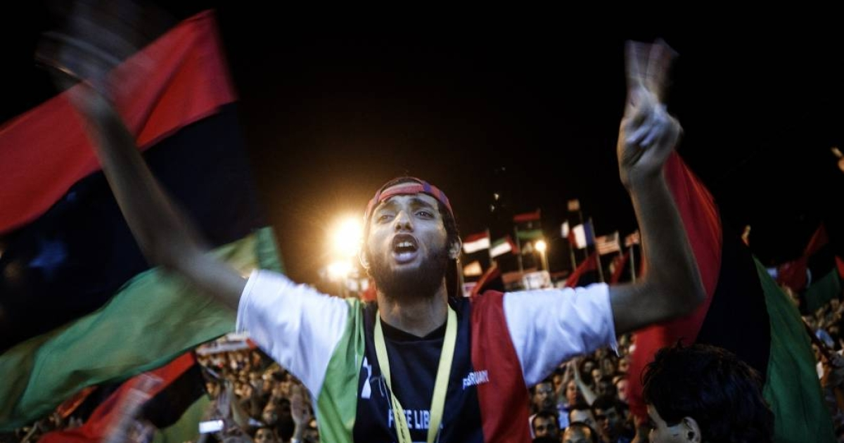 Tens of thousands of Libyans celebrate in central Tripoli after rebels stormed the city.</p>