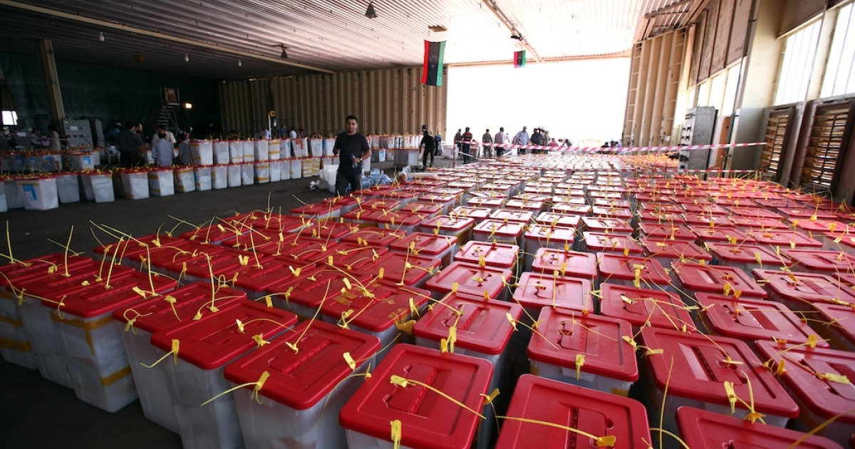 Collected ballot boxes, from different polling stations, to be checked for counting in Tripoli on July 8, 2012.</p>