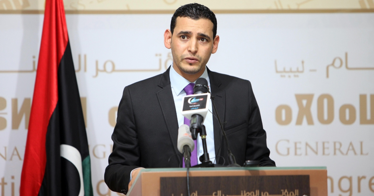 Libyan National Congress spokesman Omar Hmaidan holds a press conference in the capital Tripoli on October 31, 2012. Libya's national assembly gave its approval to a cabinet presented by prime minister designate Ali Zeidan weeks after rejecting his predecessor's line-up.</p>