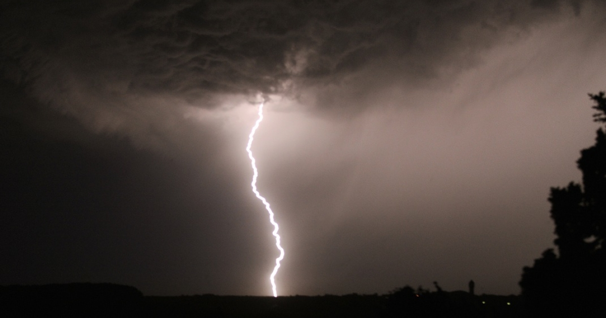 A thunderbolt lights up the sky above Chisseaux, France on July 8, 2010</p>
