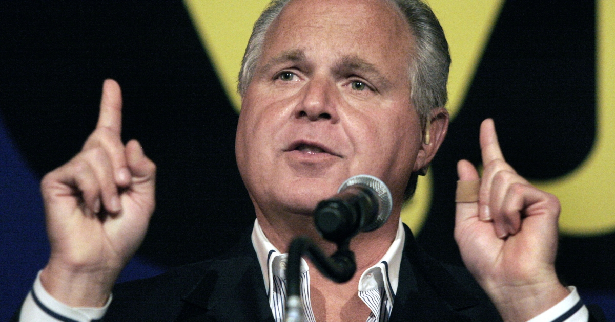 Rush Limbaugh speaks at a May 2007 event in Novi, Michigan.</p>