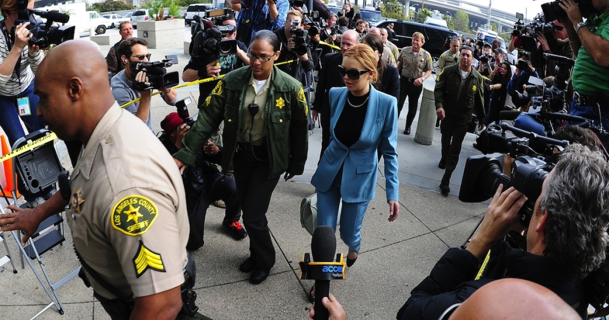 Actress Lindsay Lohan arrives for a probation progress report hearing at Superior Court in Los Angeles on March 29, 2012. The troubled starlet is never far from a scandal.</p>