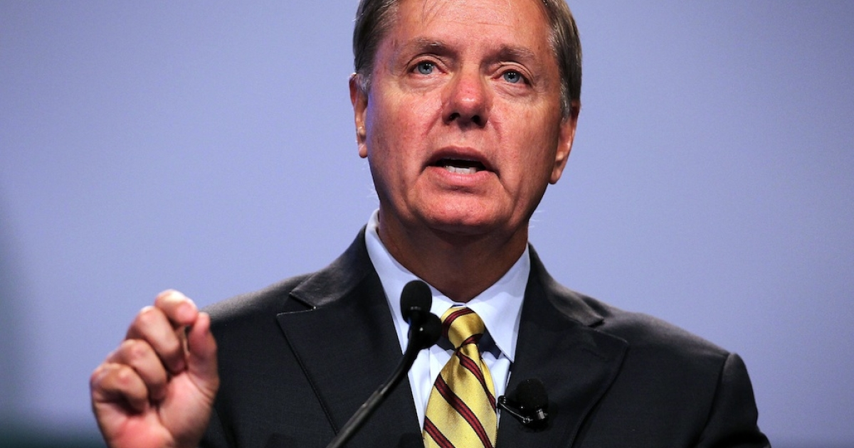 US Sen. Lindsey Graham (R-SC) speaks during the 19th International AIDS Conference July 23, 2012 in Washington, DC.</p>