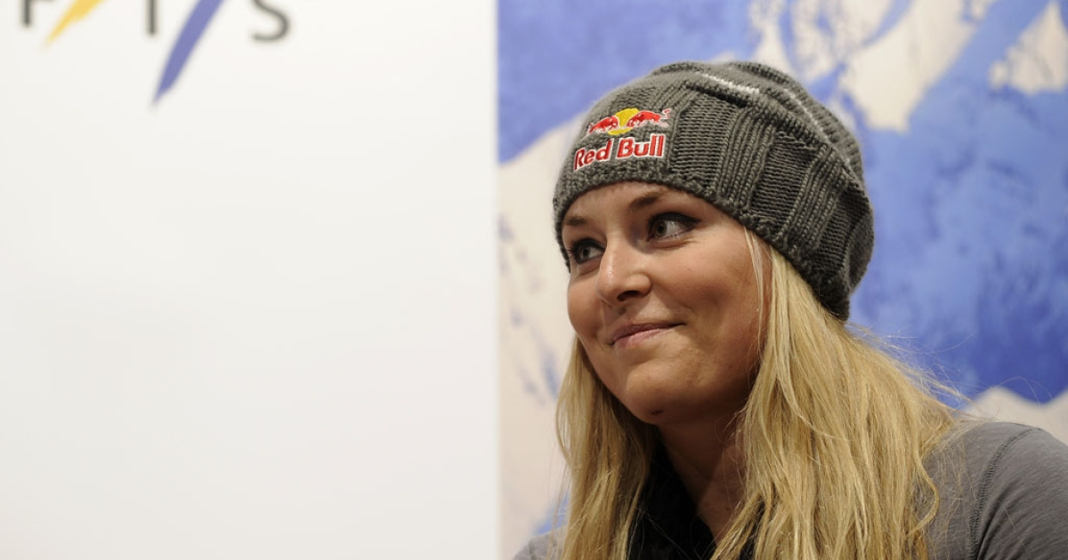 American skier Lindsey Vonn attends a media event on October 26, 2012 in Soelden, Austria.</p>