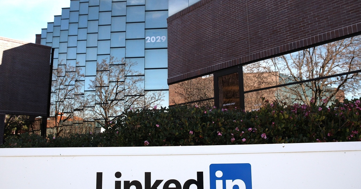 A sign is posted in front of the LinkedIn headquarters on February 11, 2011 in Mountain View, California.</p>