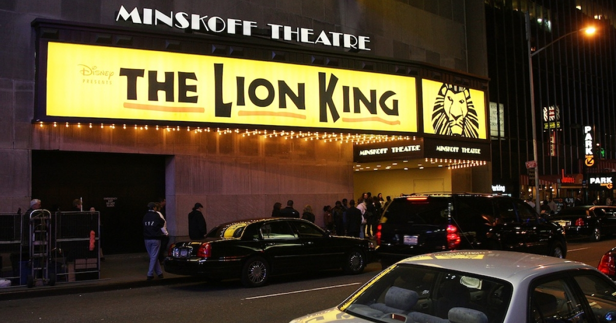 The Minskoff theatre advertises 'The Lion King' on west 44th street between Broadway and Eighth avenue. Broadway's 2011-2012 season was it's strongest yet.</p>