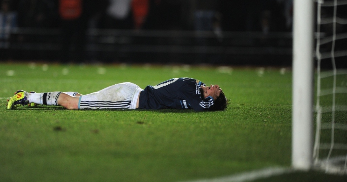 Argentine forward Lionel Messi reacts during the Copa America quarterfinal match against Uruguay, on July 16, 2011.</p>