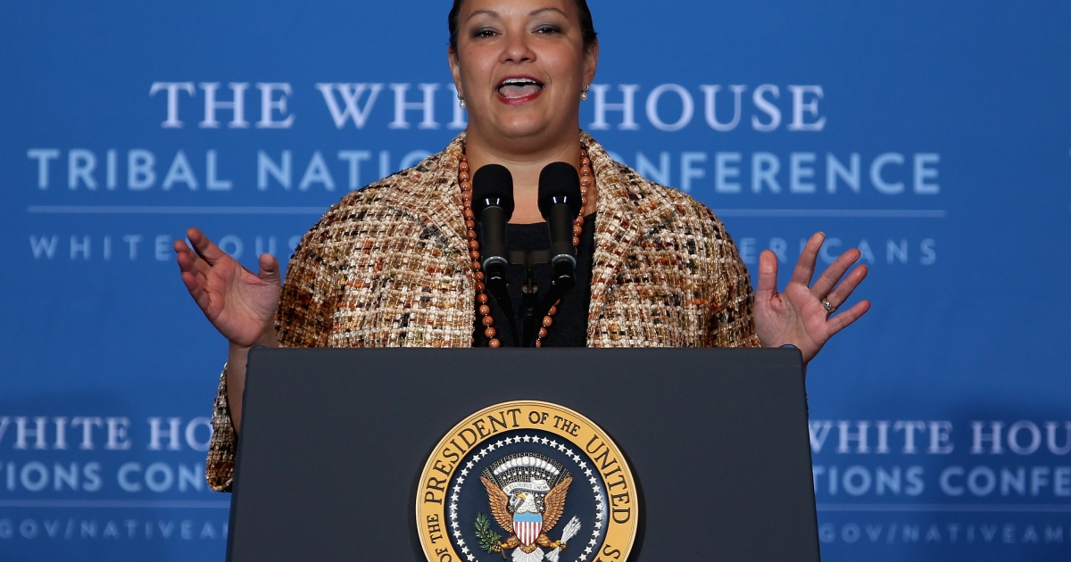 Environmental Protection Agency Administrator Lisa Jackson addresses the White House Tribal Nations Conference at the Department of Interior in Washington, DC, on Dec. 5, 2012.</p>