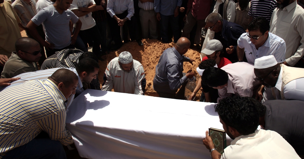 Friends and relatives bury the body of Abdelbaset Ali Mohmet al-Megrahi, the only person convicted over the 1988 Lockerbie bombing, which killed 270 people.</p>