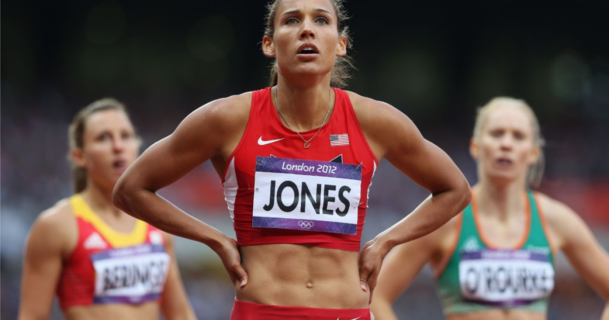Lolo Jones of the United States looks on after competing in the women's 100m hurdles at the London 2012 Olympic Games on August 7, 2012, in England.</p>
