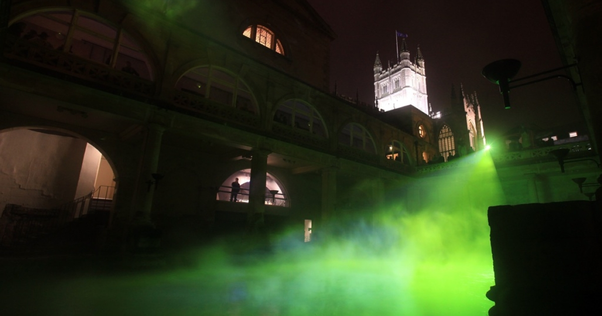 A light installation called Frequency, illuminates  steam rising from the Great Bath in Bath, England. The event marks the start of the RELAYS 2012 celebration programme during the Olympic Games year. Despite elaborate planning, organizers fear that the London Olympics could be marred by protests.</p>