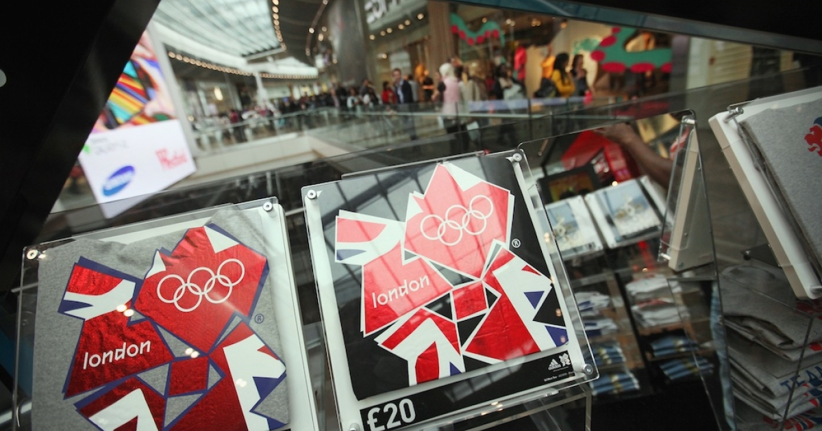 T-shirts promoting the London Olympics go on sale in the newly opened Westfield Stratford City shopping centre adjacent to the Olympic Stadium on September 13, 2011 in London.</p>