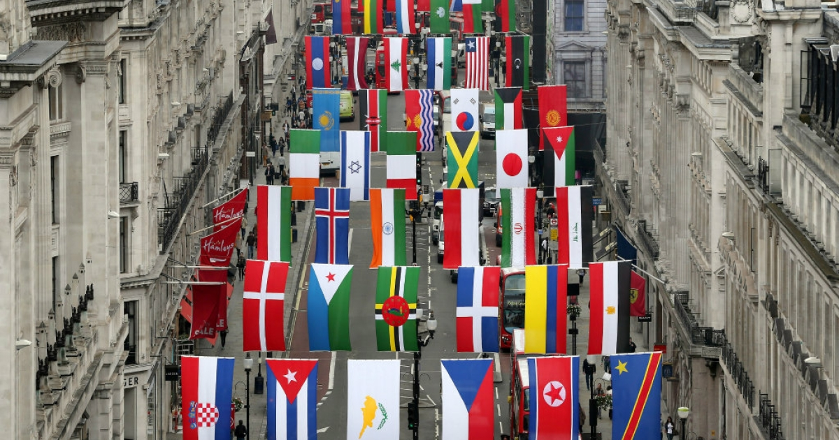 Flags of 200 nations are displayed on Regent Street in London during the city's hosting of the Olympic Games.</p>