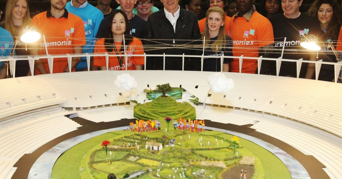 Director Danny Boyle and his team unveil a mock-up of how the London Olympic Stadium will look for the opening ceremony on July 27.</p>
