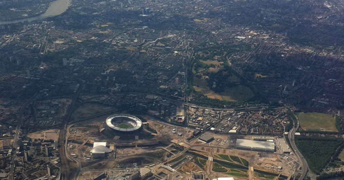 An arial view of the London 2012 Olympic Park under construction in Stratford, part of London's east end. The security forces for the event have increased to include 13,500 troops.</p>