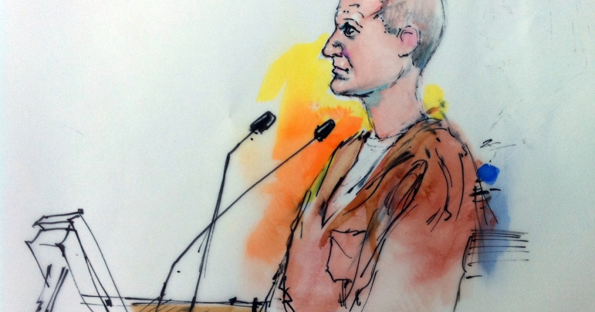 This courtroom drawing shows shooting suspect Jared Lee Loughner in court on January 10, 2011 in Tuscon, Arizona.</p>