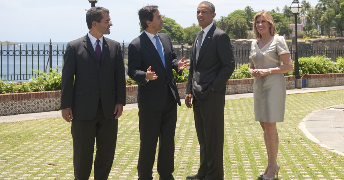 Puerto Rican first lady Luce Velo (R) and her husband, Puerto Rico Governor Luis Fortuno, give President Barack Obama a tour of La Fortaleza, the oldest governor's mansion in the Western Hemisphere, during Obama's visit to San Juan, Puerto Rico, June 14, 2011.</p>